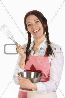 beautiful housewife preparing with egg beater
