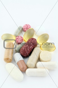 Group of vitamin pills food supplements