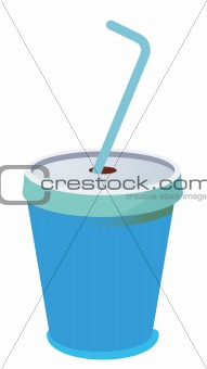 blue plastic cup with a straw