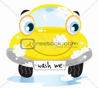 Car wash service - happy yellow automobile with soap bubbles