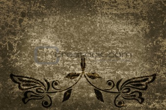 Grunge background and texture with a flower pattern.