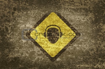 Grunge background and texture with a sign.