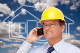 Contractor in Hardhat on His Cell Phone Over House Icon and Blurry Clouds.