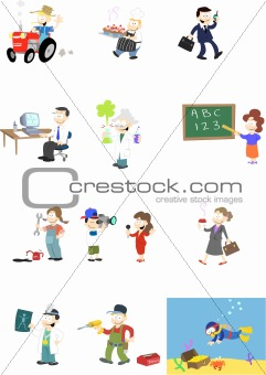 Characters in various professions