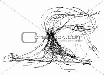 sketch of volcano