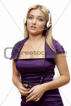 girl in headphones.