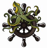 Ship steering wheel with octopus