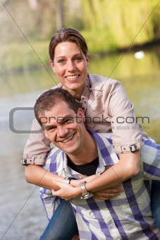 Couple doing piggyback ride