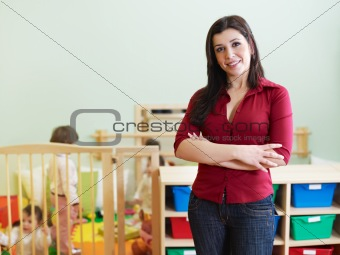 female teacher looking at camera