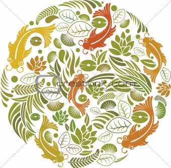 Fish and floral pattern