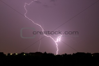 Thunderbolt and heavy storm in the town