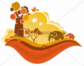 Autumn scenery background.