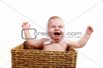Crying baby in backet