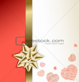 Valentine card with golden bow and hearts