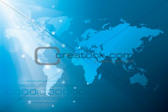 Blue Abstract Background with World Map