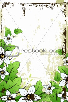 Grunge flower background with leaves
