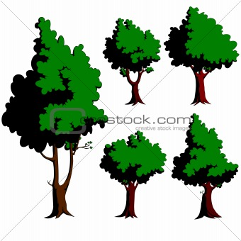Five green trees
