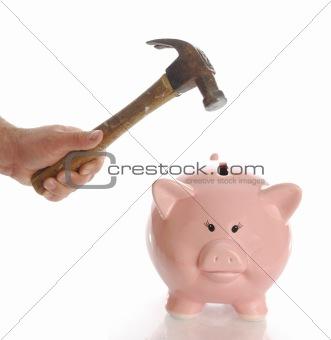 smashing piggy bank