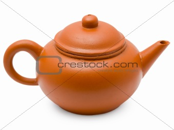 Ancient clay pot on white background