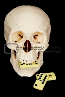 Skull eating dominoes