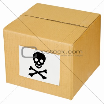 Cardboard box with skull and cross-bones sign