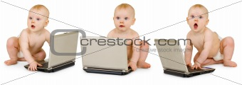 Three baby in diapers with laptops on white