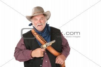 Big tough cowboy with gun on white background