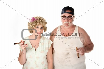 Homely couple with cigars on white background