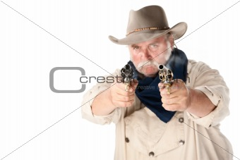 Tough cowboy aiming two guns on white background