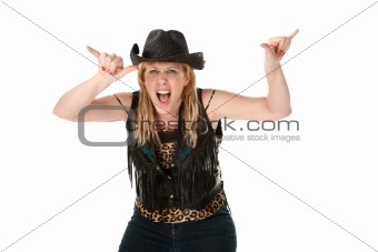 Female gang member on white background