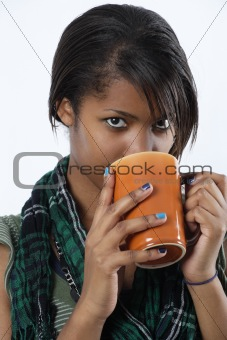 Beautiful female drinking coffee