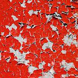 Red texture peeling paint on wall