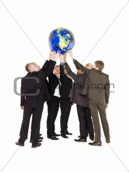 Group of men holding a terrestrial globe