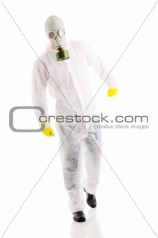Man in protective wear.