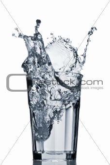 Water splash in faceted glass