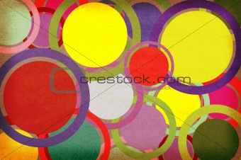 Circles on a paper background grunge with space for text or imag