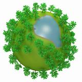 Little round planet with oversized trees and lake