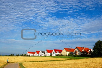 Tranquil landscape - hay fields and house range
