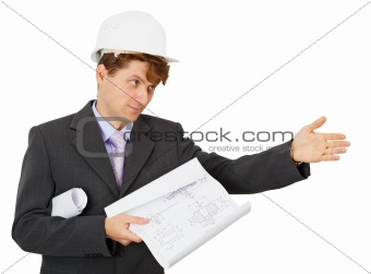 Foreman in protective helmet shows