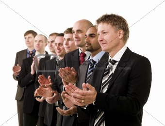 Business men clapping hands