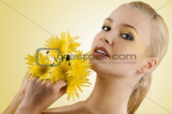 portrait with yellow flower