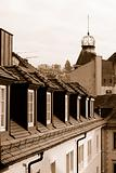 Roofs of Baden Baden in sepia color