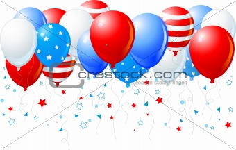 Colorful balloons of 4 of July flying up