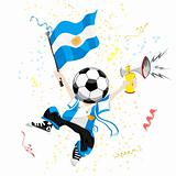 Argentina Soccer Fan with Ball Head.