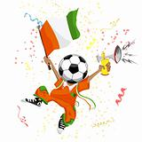 Cote d'Ivoire Soccer Fan with Ball Head.