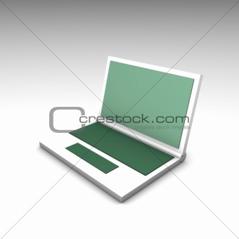 Green White Computer Notebook