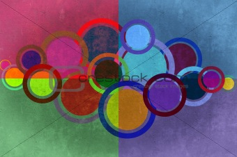 Circles and rectangles grunge background and texture.