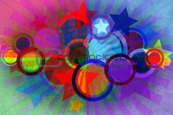 Circles, stars, beams grunge background and texture.