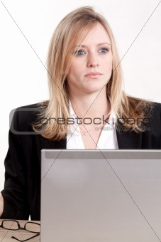 Attractive thirties caucasian blonde businesswoman