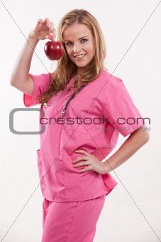 Attractive blonde female caucasian nurse doctor